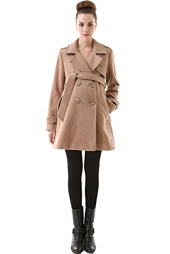 "Momo Maternity ""Isabella"" Wool Blend Belted Trench Coat – Camel S"