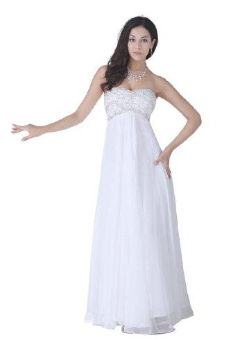 Honeystore Women's a Line Chiffon Beading Sweetheart Wedding Maternity Dresses Size US16/UK20/EUR46 Color White