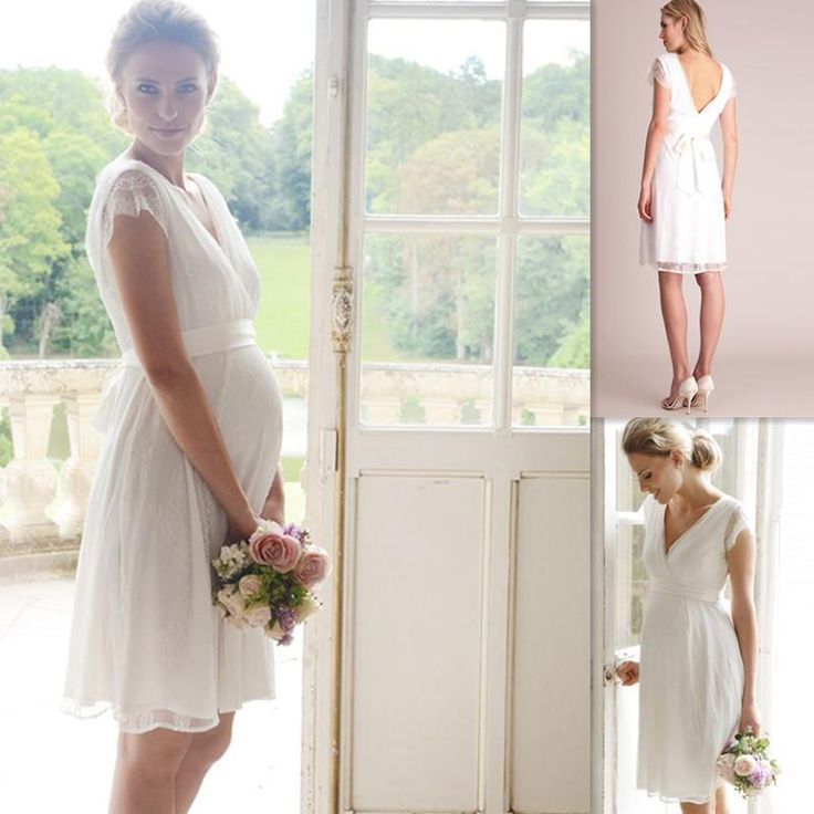 knee length Maternity bridal Dress