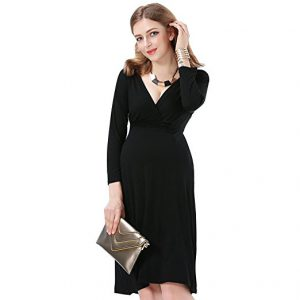 JET-BOND Maternity Wrap Dress Deep V Neck