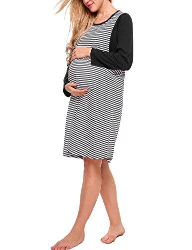 Aimado Women's Maternity Nursing Nightgown Long Sleeve Cotton Breastfeeding Nightdress S-XXL