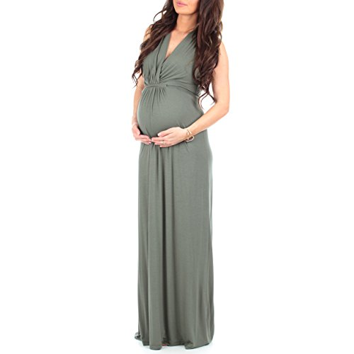 Mother Bee Women's Ruched Maternity and Nursing Maxi Dress with Adjustable Waist Tie in Regular and Plus Sizes