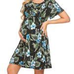 Pasttry Women's Floral Maternity Dress V Neck Short Sleeve Elastic Waist Wrap Midi Nursing Dress