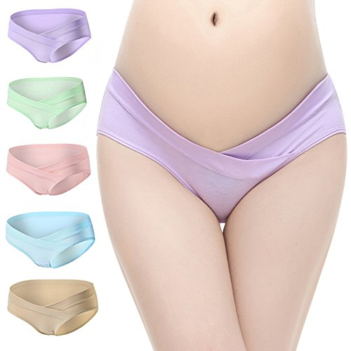 BOOPH Women's Under The Bump Cotton Maternity Panties Hipsters Underwear 5 of Pack
